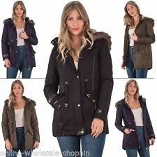 Womens Cotton Hooded Twill Parka Light Weight Jacket With Two Lower Pockets