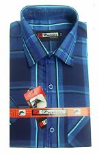 Gents / Mens Quality Formal Shirt (Dark Red Blue Checked) 70