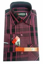 Gents / Mens Quality Formal Shirt (Pink and Black Checked) 72