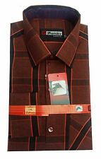 Gents / Mens Quality Formal Shirt (Dark Red Blue Checked) 73
