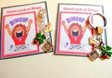 "Good Luck at Bingo Gift Key ring 4 Four Leaf Clover & ""Good Luck"" & Bingo Card"