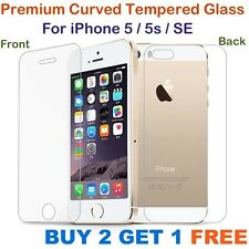 Apple iPhone 5/5S CURVED Tempered Glass Screen Guard Protector FRONT & BACK