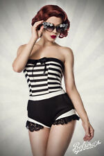 BODY CON rüschenbesatz ROCKABILLY de 1950 Vestido Vintage Retro Party HOT XS