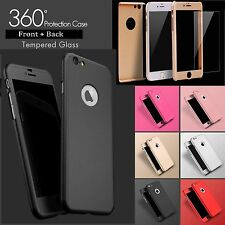 For Apple iPhone 5/6/7/8/8+/X Hybrid 360° Shockproof Case Tempered Glass Cover