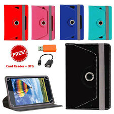 360° ROTATING LEATHER FLIP COVER FOR KARBONN SMART TAB 2 WITH CARD READER OTG