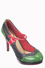 Mary Jane Shoes by Dancing Days 50s Rockabilly Polka Dot Shoes Green And Black