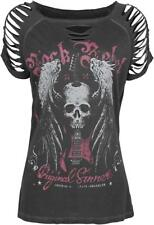 Rock Rebel by EMP Winged Skull Slash Shirt Maglia donna grigio