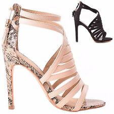 WOMENS LADIES HIGH HEEL STILETTO CAGED CUT OUT PEEP TOE SHOES SANDAL SIZE 3-8