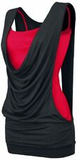 Forplay Open Double Layer Top donna nero/rosso
