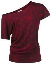 RED by EMP Star Shirt Maglia donna bordeaux/nero