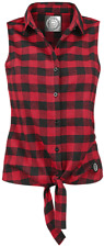 RED by EMP Checkered Sleeveless Shirt Camicia donna nero/rosso
