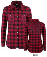 Rock Rebel by EMP Checkered Skull Application Shirt Camicia donna rosso/nero