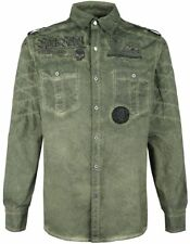 Rock Rebel by EMP Vintage Application Shirt Camicia verde oliva