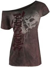 Rock Rebel by EMP Drops Skull Shirt Maglia donna bordeaux/nero