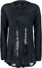 Forplay Destroyed Knitted Sweater Pullover donna nero