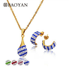 Brand New 4 Color Pave Setting Crystal Pendant Earring Set Stainless Steel Go...