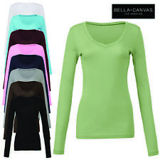 Bella+Canvas Ladies Long Body V-Neck Long Sleeve T-Shirt Women's Top Casual New