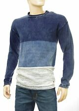 SCOTCH and SODA pull rayures homme coton bleu indigo délavé long fit 136556