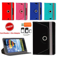 360° ROTATING FLIP COVER FOR KARBONN SMART TAB 2 WITH CARD READER SIM ADAPTER