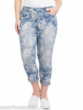 New Ladies Faded Glory Floral Print Boyfriend Crop Jeans Capri Trouser Plus Size