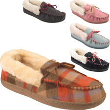 New Womens Fur Lined Warm Tartan Print Ladies Luxury Moccasin Slippers Shoes UK
