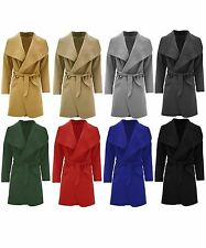 Ladies French Waterfall Coat Women Short Long Sleeve Trench Belted Jacket 8-16