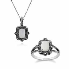 Sterling Silver Art Deco Mother of Pearl & Marcasite 45cm Necklace and Ring Set