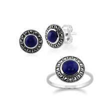 Sterling Silver Art Deco Lapis Lazuli & Marcasite Stud Earring and Ring Set