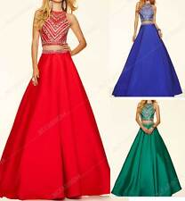 New Crystal Beaded Two Piece Prom Dress O Neck Long A Line Formal PartySize:6-20