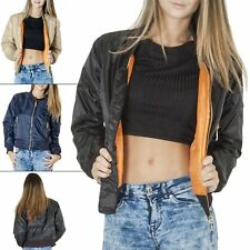 Womens Bomber Quilted Padded Vintage Jacket Zip Biker Camouflage Polyester