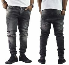 Herren Jeans Destroyed Schwarz Slim-Fit Clubwear Denim Bikerjeans NEU