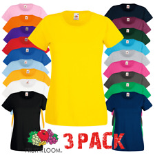 3 x Fruit of the Loom LADIES T-SHIRT TOPS PLAIN SUMMER TEE COTTON TSHIRTS 3 PACK