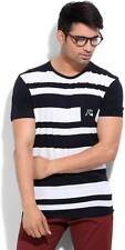 Quick Silver Striped Mens Round Neck  T-Shirt-5441-IVX