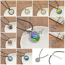 Various Patterns Glass Cabochon Pendant Chain Necklace Dome Jewellery Gift