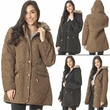 Womens Diamond Quilted Jacket Puffer Fur Collar Italian Long Polyester Coat