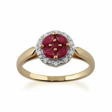 Gemondo 9ct Yellow Gold Ruby Cluster and Diamond Halo Ring