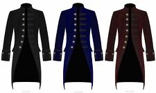 New Mens Steampunk Vintage Tailcoat Gothic Jacket Velvet Victorian Frock Coat