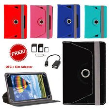 360° ROTATING LEATHER FLIP COVER FOR KARBONN SMART TAB 2 WITH OTG & SIM ADAPTER
