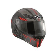 AGV Compact ST Seattle Flip Front Motorcycle Helmet Black Silver Red Sun Visor