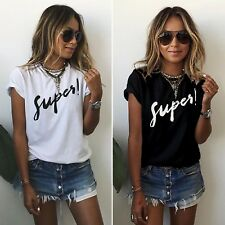 Women Short Sleeve Loose T Shirts Ladies Summer Casual Blouse Tops Shirt UK 6-22