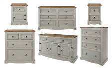 Bedside Cabinet Sideboard with Dovetailed Drawers Premium Grey Washed Furniture