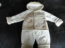 """New Baby Boys Cute Padded """"Bear"""" Hooded Jacket and Trouser Winter,Snow Outfit"""