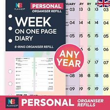 NBplanner 2019 Week on two pages plain organiser refill Filofax compatible
