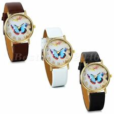 Women Girls Fashion Butterfly Bracelet Dress Quartz PU Leather Band Wrist Watch