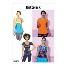 Butterick Sewing Pattern Misses Pullover Paneled Tops | B6458