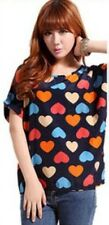 Women's Blouse For Summer O-Neck Color Hearts Black  Tops Colorful Short Sleeve