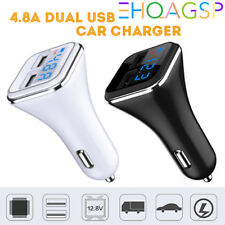 4.8A Car Charger Dual USB Adapter Cigarette Lighter LCD For iPad Tablet Samsung