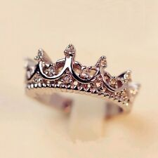Korean Style Retro Crystal Drill Hollow Crown Shaped Queen Temperament Rings ...