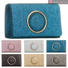 WOMENS NEW CIRCLE DECORATION SHIMMER GLITTER CHAIN STRAP PARTY CLUTCH BAG