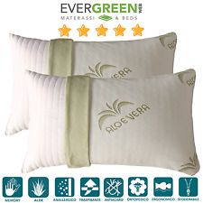 Coppia Cuscini Guanciali Ortocervicale Memory Foam 100% Made in Italy Evergreen